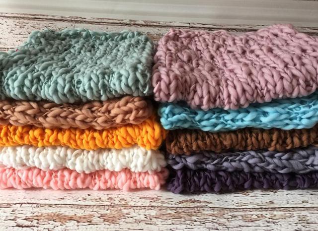 Ganchillo de lana Manta de Bebé Recién Nacido Fotografía Atrezzo Punto Grueso Manta Cesta De Relleno 10 colores, # P1010