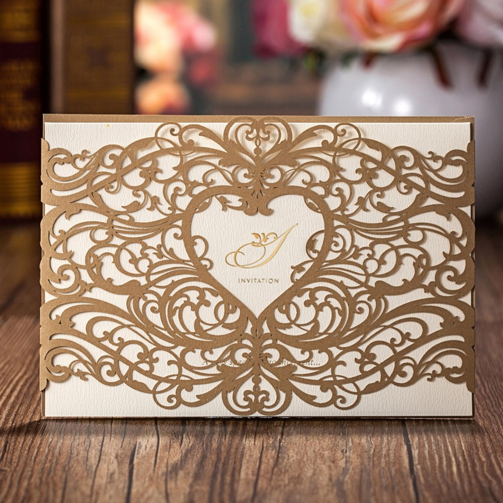 50PCS Laser Cut Wedding Invitations Cards with Gold Red Hollow Heart Design Cardstock for Bridal Shower