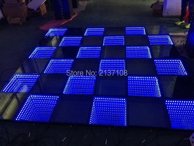 Mirror Time Tunnel 3D LED Lighted Wedding Dance Floor DMX WIFI Mobile Control DJ Disco Party Professional Stage Lighting Fixture