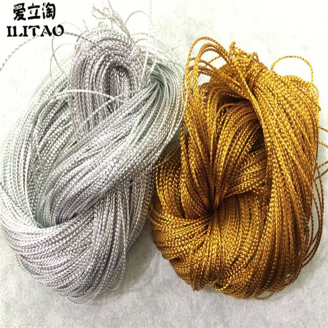 ILITAO Hot sell 100 yards/pcs 1/2/3mm Gold / Silver Beading Cords / String / Thread / DIY Jewelry Findings Accessories