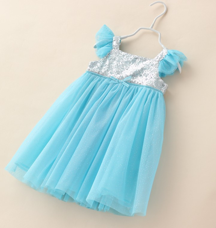 Christmas Fashion Sky Blue Girls Sequin Dress Princess Tulle Girl Party Dress Wedding Kids Clothes Free Shipping