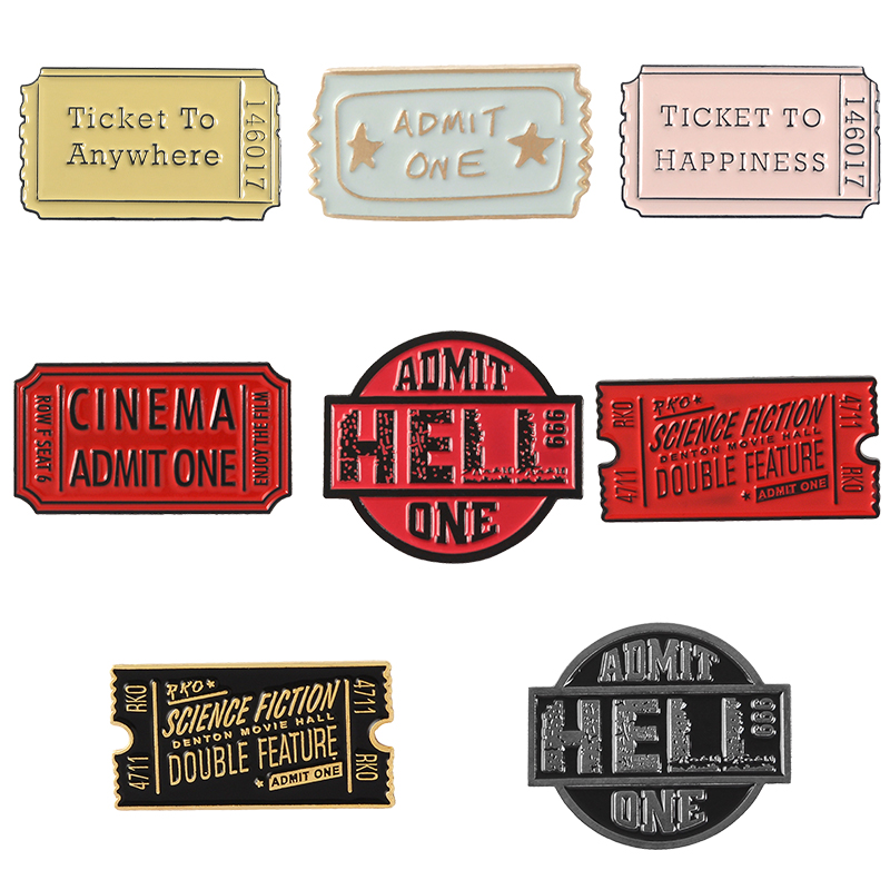 Ticket to Hell Enamel Pin Gothic Gift Present Christmas Lapel Punk