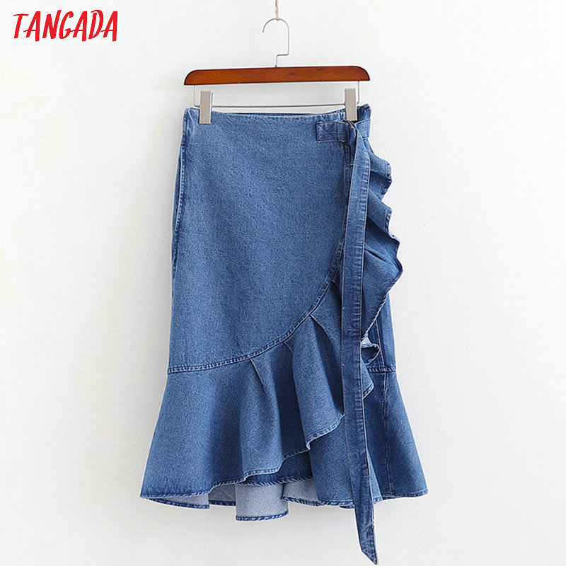 Tangada Fashion 2019 Women Vintage Denim Skirt Sashes Ruffles Retro Pleated Blue Skirts Faldas Mujer 1D422