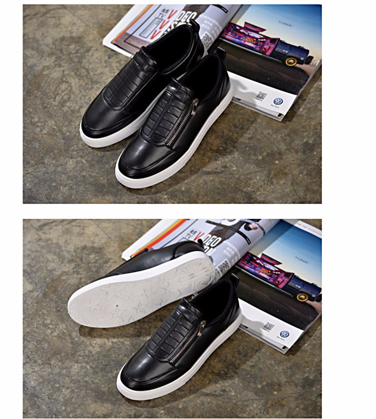 BODNSN Casual Men\'s Skate Shoes Zip Leather Flats 2016 New Solid Round Toe Men\'s Flat Shoes Breathable Fashion Man Shoes PX43 (5)