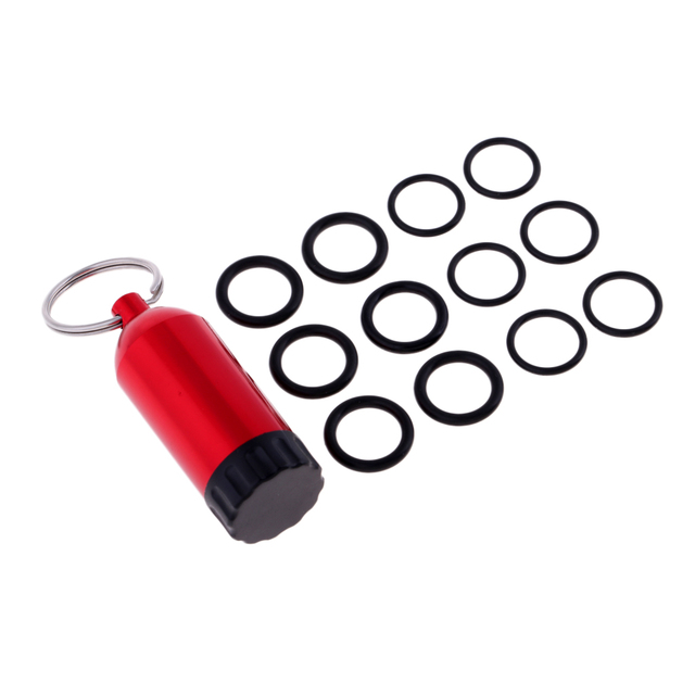 Aluminum Alloy Mini Scuba Dive Tank Key Ring with 12 O-Rings and Brass Pick for Scuba Diving Regulator Dive BCD