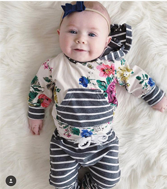 48813deb1b3e2 Autumn Baby Girl Clothes Set Infant Clothing Cute Floral Hoodie Long Sleeve  Tops+ Stripe Pants Hooded 2Pcs Toddler Outfits