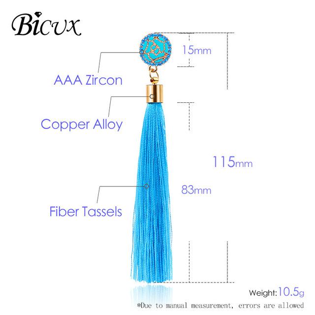 BICUX Fashion Bohemian Tassel Crystal Long Earrings White Red Silk Fabric Drop Dangle Tassel Earrings For Women 2019 Jewelry