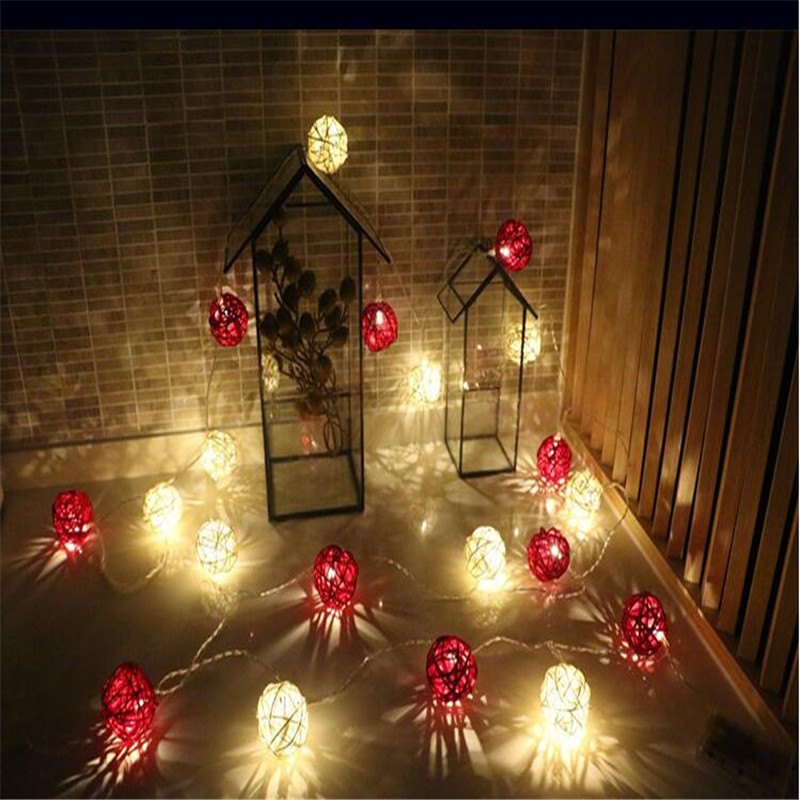 EU plug String Lights Xmas 5m 28LED Waterproof White Red Rattan Ball Fairy Wedding Outdoor Party Decorating Lights