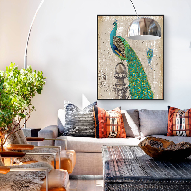 Modern Canvas Art Print Poster Peacock And Vase Wall Pictures Home