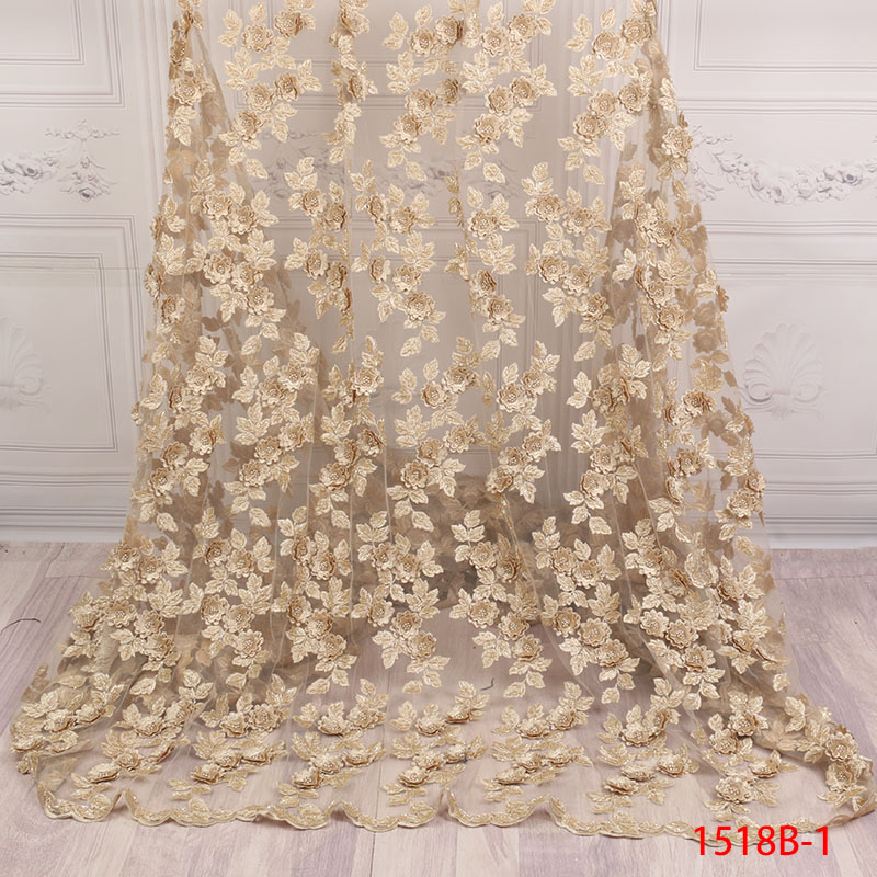 African Lace Fabric 2018 High Quality Lace Fabric With Beautiful Handmade 3d Flowers Beads For Bridal Wedding Dress XZ1518B 1