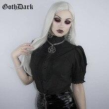Goth Dark Black Shirt Women Turtleneck Lace Patchwork Puff Sleeve Gothic Harajuku Female Ladies 2019 Summer