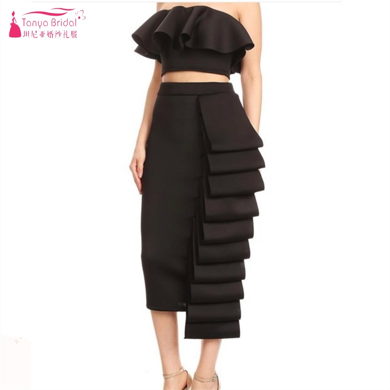 Tanya White 2019 Elegant Cocktail Dresses Sheath Strapless Tea Length Spandex Party Plus Size Homecoming Dresses DQG869