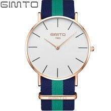 2017 Hommes Montres Top Marque De Luxe Étanche Ultra Mince Horloge mâle Nylon Sport Bracelet Montre À Quartz Hommes Sport GIMTO Poignet montre