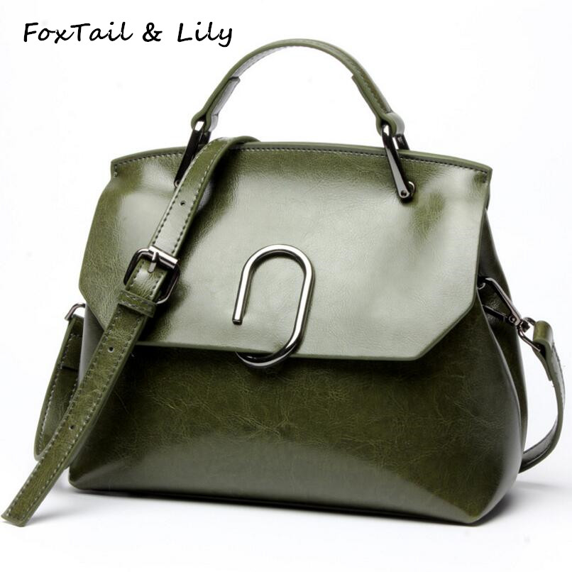 FoxTail & Lily Oil Wax Cowhide Women Handbags Genuine Leather Ladies Shoulder Bags Fashion Designer Crossbody Bag High Quality chispaulo women genuine leather handbags cowhide patent famous brands designer handbags high quality tote bag bolsa tassel c165