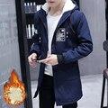 2016 мужская Одежда Бренда Пальто и Куртки долго стиль зима утолщение мужской с капюшоном ватные теплая куртка тепловой пальто размер 3xl
