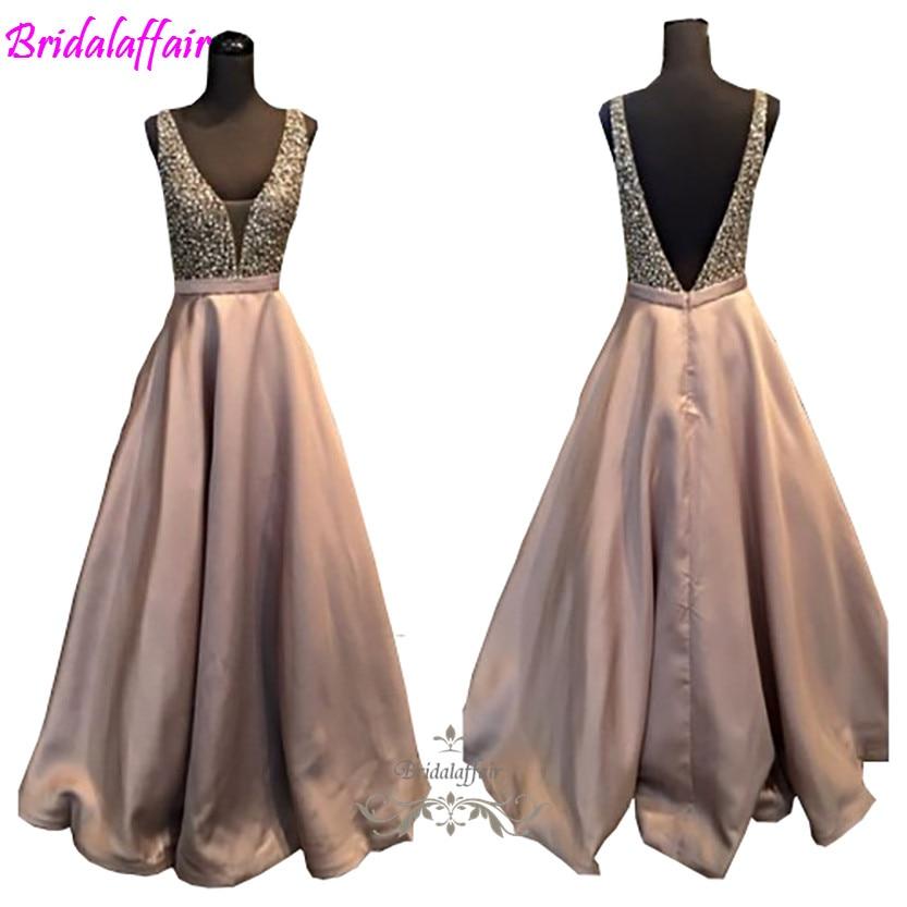 2018 fashion New Sparkling Satin Long   Prom     Dress   Sleeveless V Neck Luxury Crystal Beaded Robe De Soiree Custom Vestidos   Dresses
