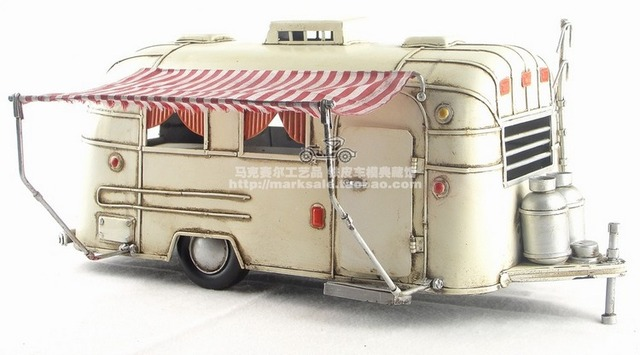 Antique Classical Camping RV Car Model Retro Vintage Wrought Handmade Metal Crafts For Home Pub