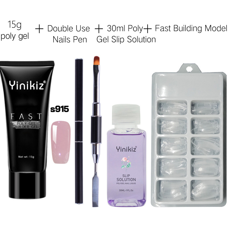 15g Quick Building Poly Gel Kit Gel Nail Polish French Nail Art UV Gel Polygel Slice Brush Nail Gel Solution Manicure Set in Nail Gel from Beauty Health