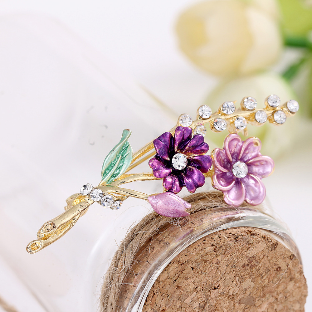 ZOSHI Brand Flower Oil Dripping Gold Plated Brooches for Women Brooch Pins Jewelry Wedding Decoration Wholesale Price