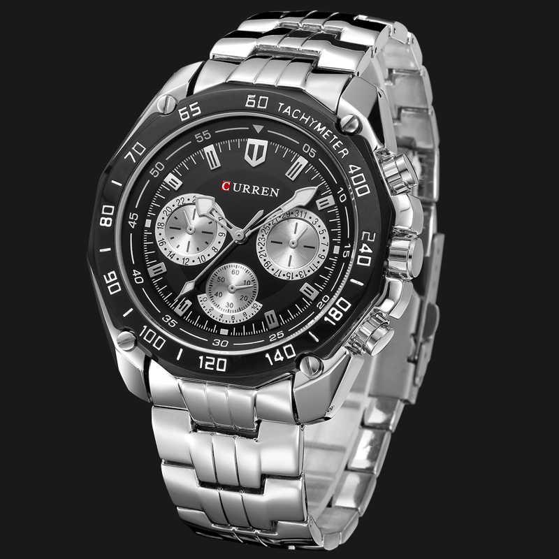 ساعات يد رجالية من الفولاذ المقاوم للصدأ بالكامل ساعة يد عصرية من CURREN كوارتز للرجال ساعة تناظرية رياضية للرجال ساعة رجالية