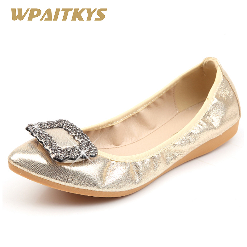 682034f0a24b36 2018 Black Silver Golden Ladies Flat Shoes Fashion Rhinestone Sequin Cloth Ballet  Flats Fold Up Silver Dance Casual Shoes Woman
