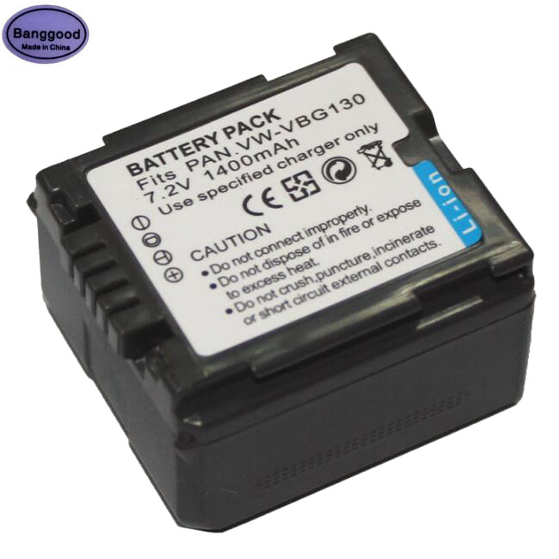 7.2V 1400mAh VW-VBG130 VW VGB130 Camera Battery Pack For <font><b>Panasonic</b></font> <font><b>SDR</b></font>-<font><b>H80</b></font> HDC-DX5 HDC-TM20 AG-HMC40 AG-HMC70 AG-HMC70U AG-HMC73 image