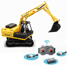цена на Rc DIY Motorized Excavator Building Blocks kit Bricks Set Classic City Model Kids Toys Gift Remote Control Building Block Truck