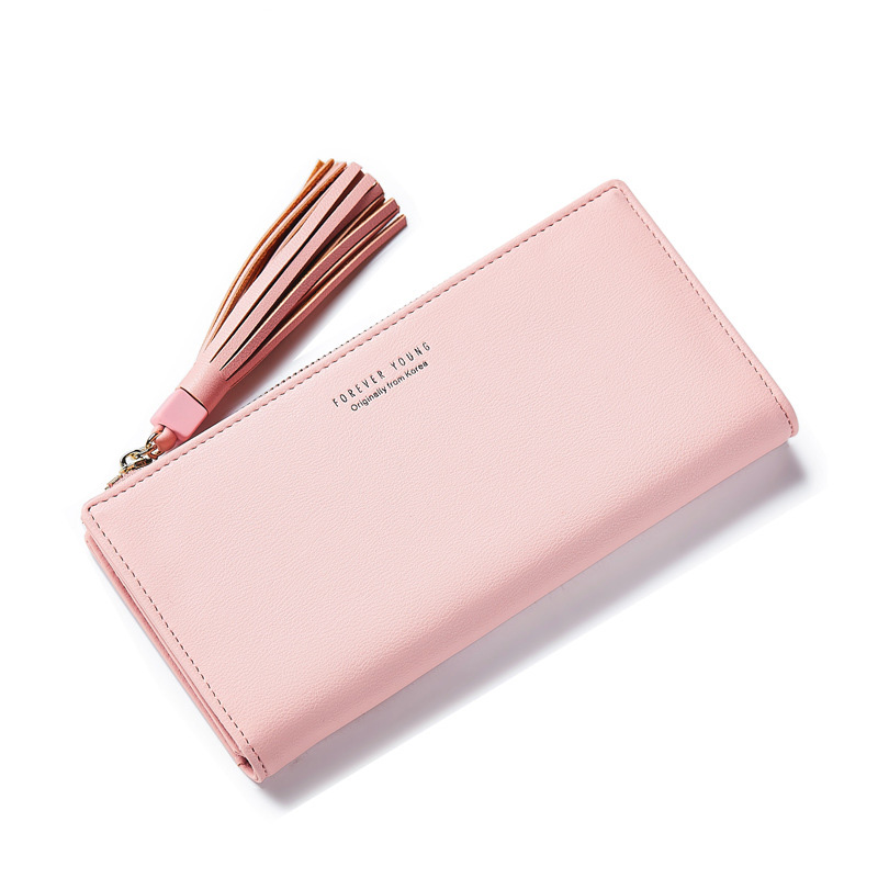Women Wallet Womens Long Wallets And Purses Fringed Decoration Multi-Card Bit Solid Color Ladies Purse Fashion A2239