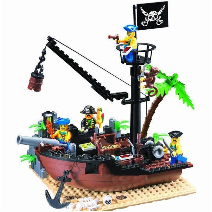 On Stock Enlighten 178PCS Pirate Series Pirate Ship Scrap Dock Model Building Blocks Sets Compatible Kids Toys for children lepin 22001 pirate ship imperial warships model building block briks toys gift 1717pcs compatible legoed 10210