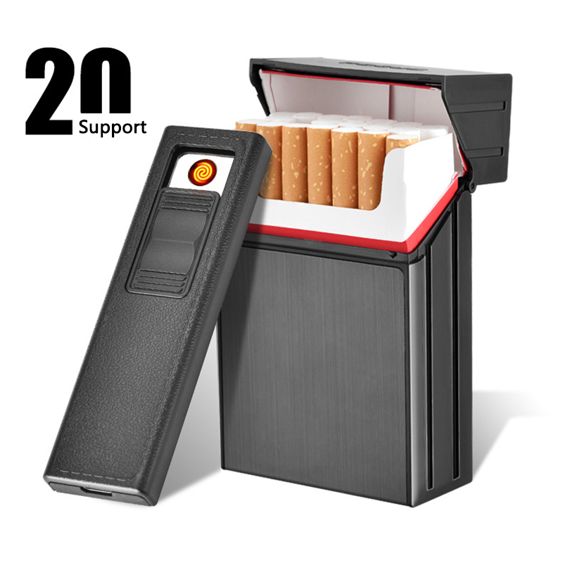 Cigarette Case Box Lighter with Flameless Removable Electronic Windproof Torch 20pcs Holder