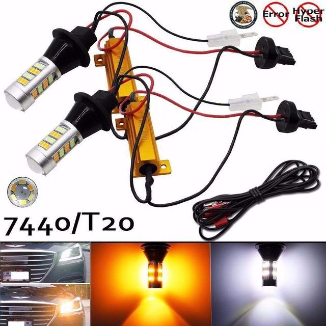 2X T20 7440 42-SMD Dual Switchback Brake Car Led Bulbs Reverse Turn Signal LED Lights