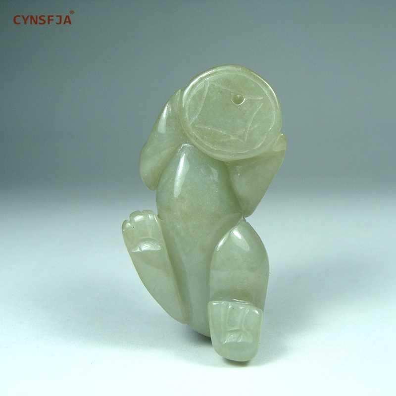 CYNSFJA 本物レア認定ナチュラルグレード A ビルマエメラルドジェダイト男性の護符チャームラッキー裕福な貔貅のヒスイのペンダント高品質手彫刻アートワークベストギフト
