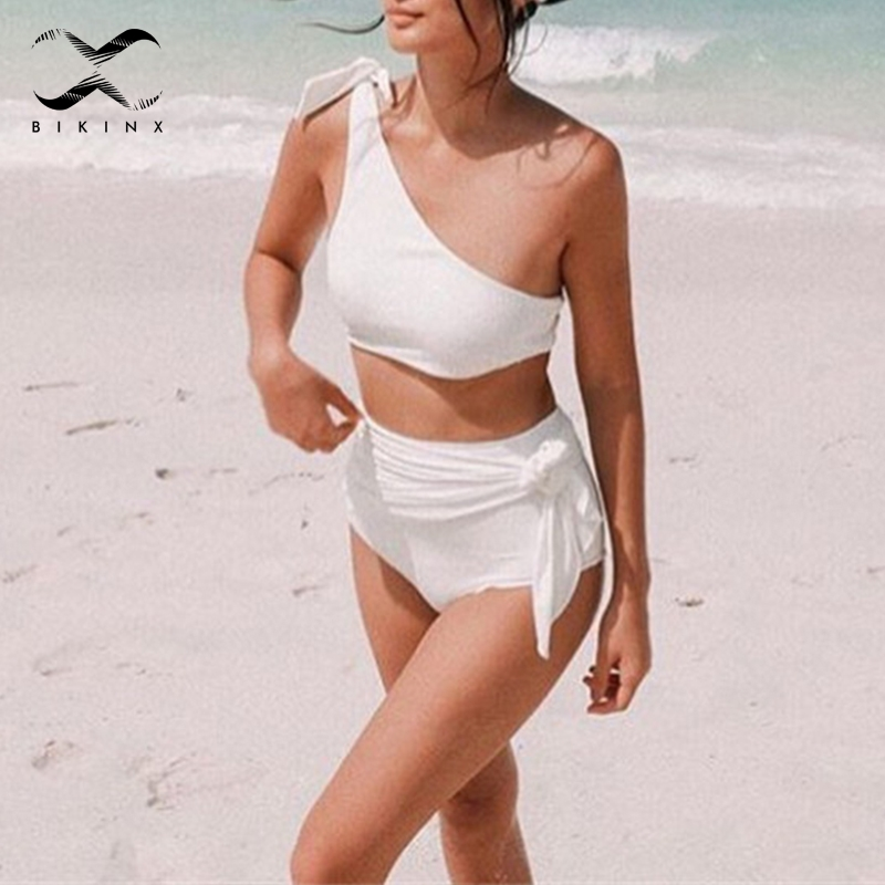 Sport & Unterhaltung Freundschaftlich Bikinx Hohe Taille Bikini 2019 Schulter Badeanzug Frauen Biquini Feste Bandage Badeanzug Push Up Bademode Sexy Strand Tragen Senility VerzöGern