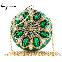 Green Clutch Purse Crystal Bridal Wedding Purse Exquisite Women Evening Clutch Bag Round Shape Chain Handbags Party Shoulder Bag
