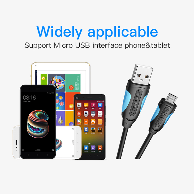 Vention Micro USB Cable Fast Charging Wire for Android Mobile Phone Data Sync Charger Cable 3M 2M 1M For Samsung HTC Xiaomi Sony 1