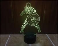 Hot Avengers LED Night Light Children Color Change 3D Luminaria Lamp Captain America LED Lighting Toy