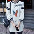 YNZZU Новая Европа Марка Женщины Моды Пуловеры Fly Bird Аппликации Животных Шерстяные Свитера С Длинным Рукавом Свитера Вязаные YT144