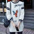 YNZZU Nova Europa Marca Moda Feminina Pullovers Fly Pássaro Apliques Animais Blusas De Lã de Manga Comprida de Malha Blusas YT144