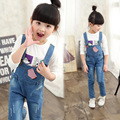 2016 New Baby Girls Pants Autumn Kid Jean Pant With Suspender Striped Pocket High Quality Denim Children Braces Trousers