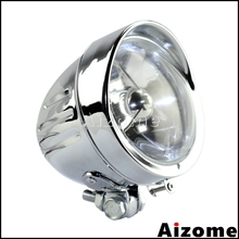 """Мотоциклетный хромированный 4,"""" головной светильник, передний головной светильник H4, налобный фонарь для Harley Softail Dyna FXSTSS FXEF Rocker Chopper"""