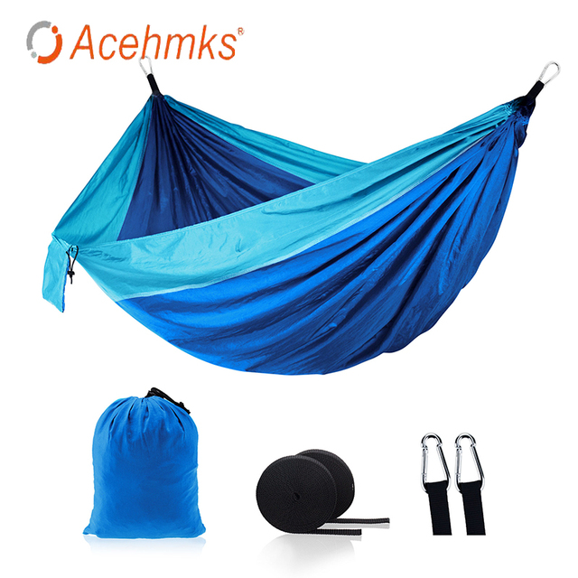 Acehmks Swing For Adults Camping Hammock Pure Colour Leisure And Tourism Sleeping Hammock Nylon Fabric Portable Hammock