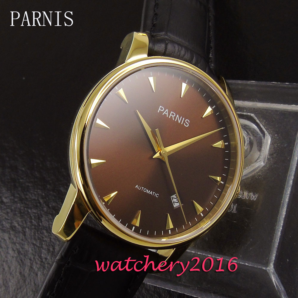 38mm Parnis brown dial yellow golden markers date window sapphire glass automatic Movement Men's watch аксессуар заспинный колчан bowmaster tento ref yellow brown 277