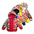 Brilhante Flor Padding Hoody das Meninas Encapuzados Crianças Casaco Menina À Prova D' Água Jaqueta de Inverno Quente para Crianças Roupas De Esqui