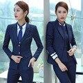Nova Moda Listrada Ternos de Negócio Profissional Salão de Beleza Senhoras Blazers Plus Size 4XL Ternos Saia OL Formais Terninhos Estilos