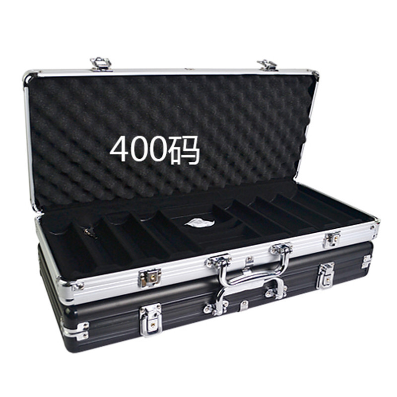 Wholesale retail high-grade professional aluminum chip boxes 400 codes yards chips poker coin carrying case black silver