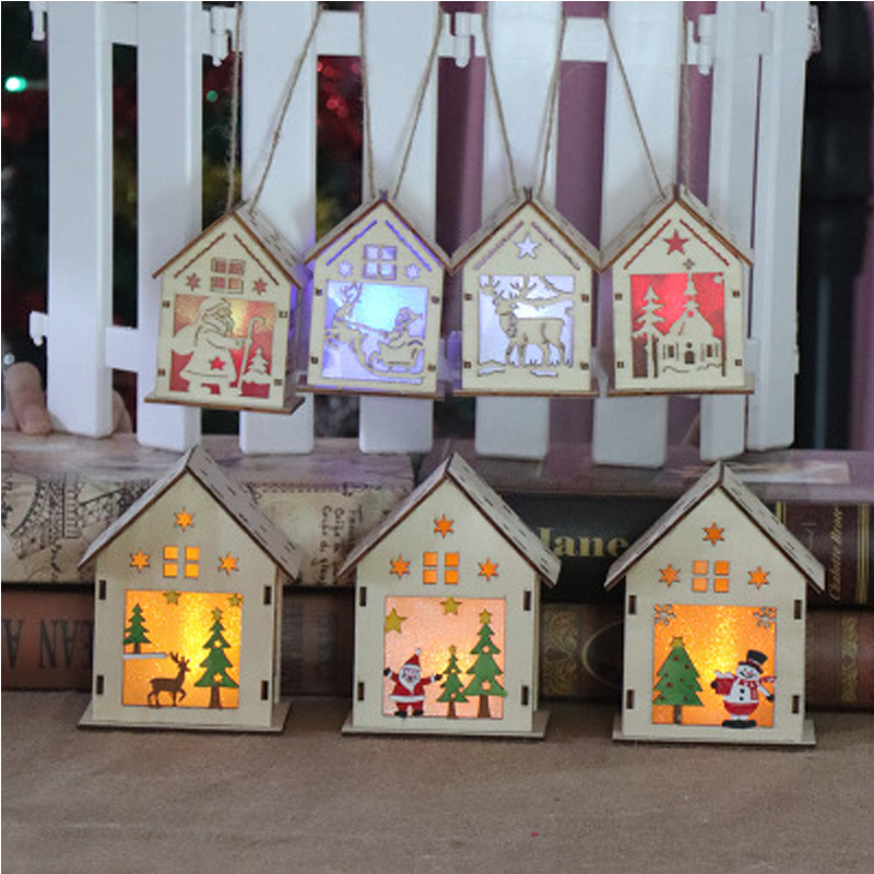 Led Flashing Light Wooden House Christmas Tree Home Decoration DIY Handmade Assemble Led Christmas House Party Toys For Xmas Gif