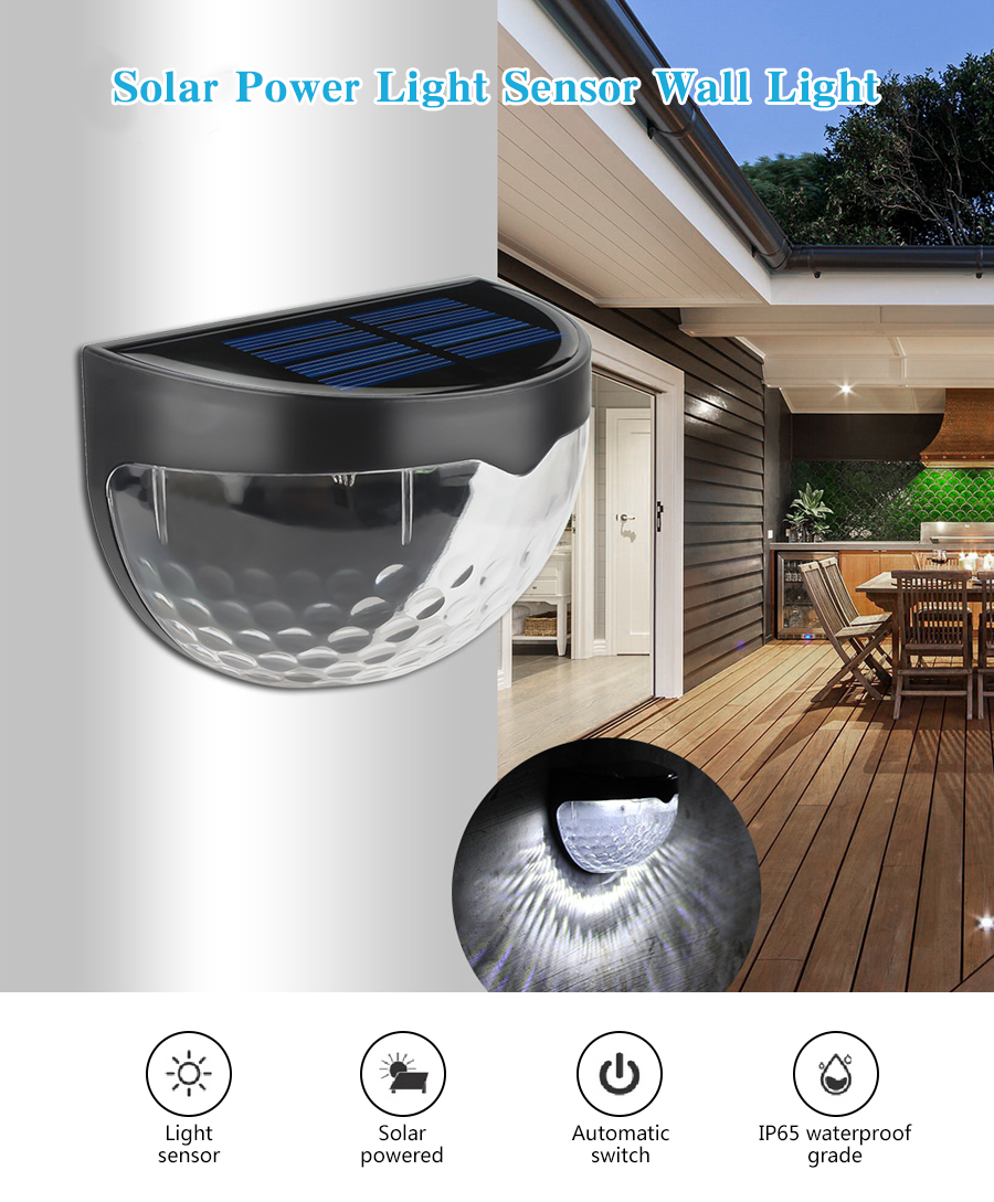 Intelligent Automatic Induction ON/OFF LED Solar Wall Lamp IP65 Waterproof Sensor Battery Light Garden Stairs Outdoor Lighting