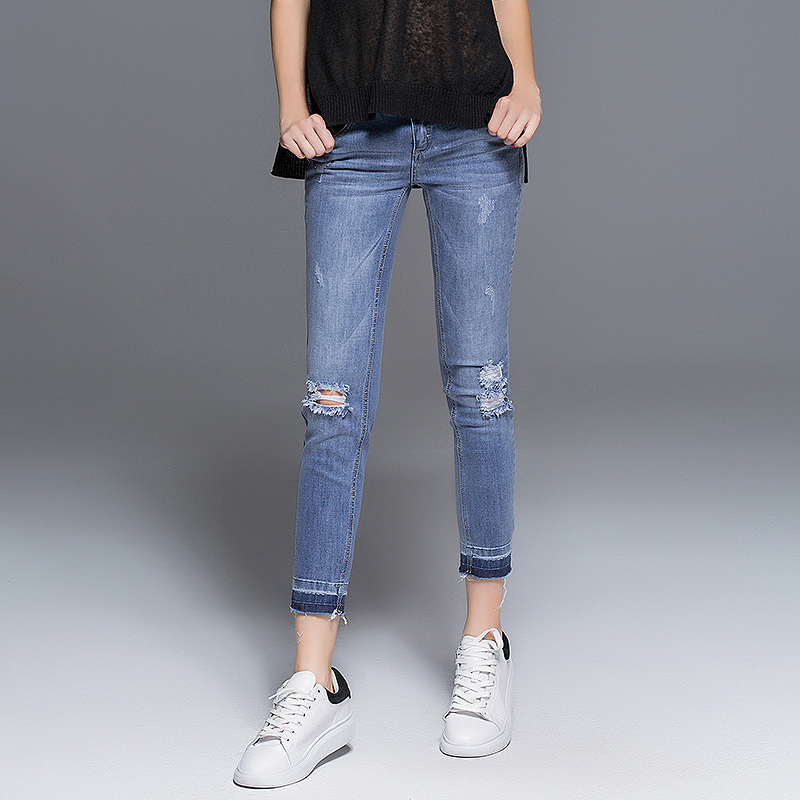 2016 new summer Europe wind style soft denim with zippers pockets hole bleached and button full