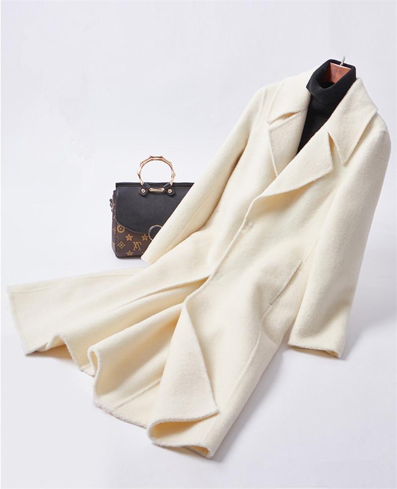 Бежевое белое двустороннее Фланелевое женское длинное тонкое пальто с большим отложным воротником и наклонными карманами, EU/S 2XL, розничная