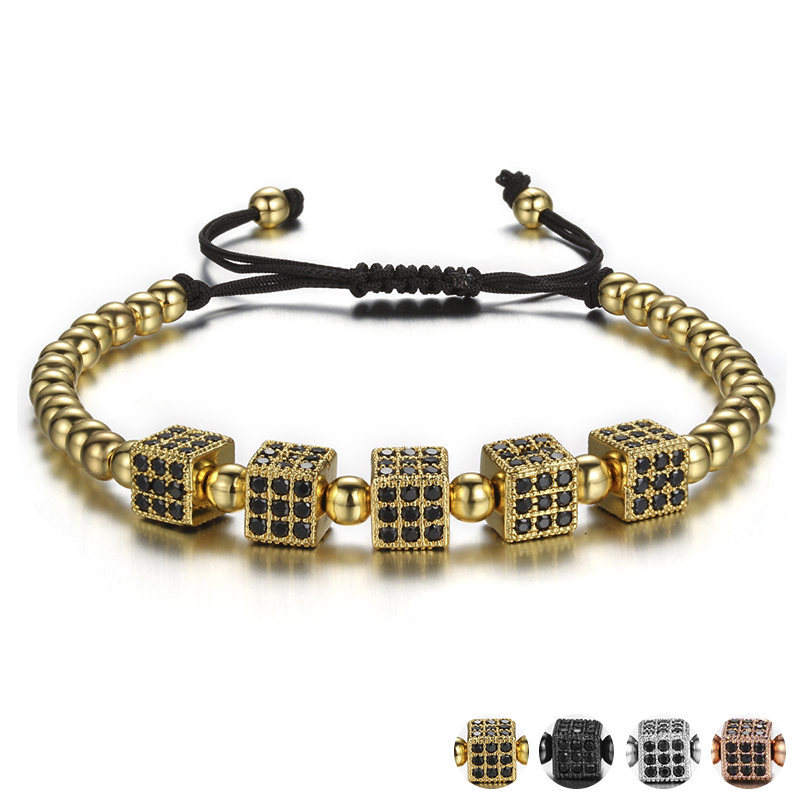 High Quality Rhinestone Cube Bead Bracelets For Women Weaving Handmade Female Hand Beads Chain Fashion Jewelry Pulseira